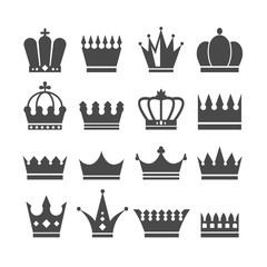 Black royalty crown isolated icons set. Vector flat graphic design illustration