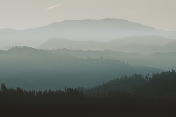 Hazy layers of mountains in Washington state in Fall