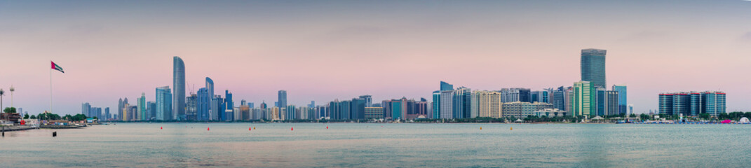 Abu Dhabi downtown skyline full panoramic view