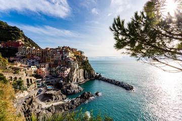 Manarola, one of famous small coastal cliff towns and fishing villages in Cinque Terre national park on Italian Riviera, Mediterranean Sea near Genoa. Province of La Spezia, Liguria, northern Italy