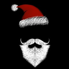 Santa Claus with white beard and red hat on black background