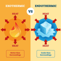 Exothermic and Endothermic vector illustration. Labeled educational scheme.