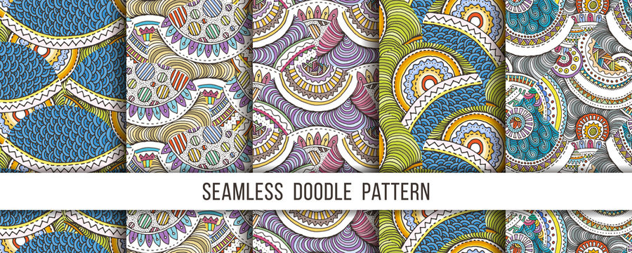 Set of hand drawn seamless grunge textures. Artistic illustration of rough graphic patterns, ethnic abstract lines