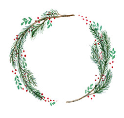 Cute watercolor Christmas wreath with fir twigs, branches and red berries. Bright round hand drawn illustration isolated on white background for New Year decoration, greeting cards design