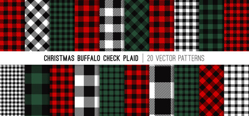 Christmas Buffalo Check Plaid Vector Patterns in Red, Green, White and Black. Set of 20 Lumberjack Flannel Shirt Fabric Textures. Rustic Xmas Backgrounds. Pattern Tile Swatches Included.