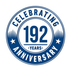 192 years anniversary celebration logo template. Vector and illustration.