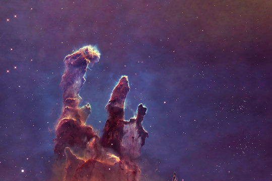 Deep space, a beautiful nebula in the form of pillars. Elements of this image were furnished by NASA.