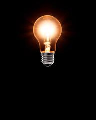 Burning classical lightbulb levitating in the air