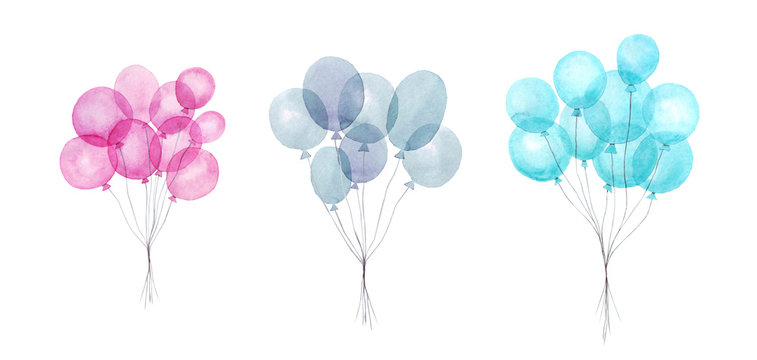 Set of colorful air balloons inflatable, watercolor illustration. Hand painted pack of party pink, blue, purple balloons isolated on white background. Greeting decor.