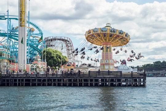 Stockholm, Sweden - June 27, 2019: Gröna lund amusement park in Stockholm