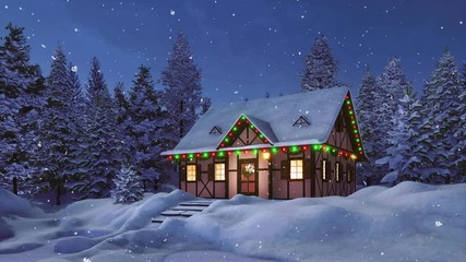 Wall Mural - Solitary snowbound half-timbered rustic house decorated for Christmas among snow covered fir tree forest at snowfall winter night. Festive 3D animation for Xmas or New Year holidays rendered in 4K
