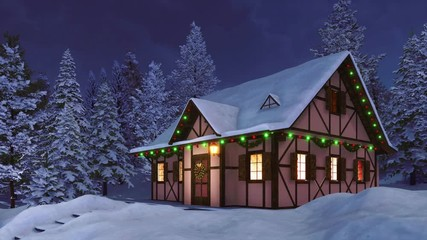 Wall Mural - Cozy half-timbered rustic house decorated for Xmas and illuminated by christmas lights garlands among snow covered fir forest at calm winter night. With no people festive 3D animation rendered in 4K