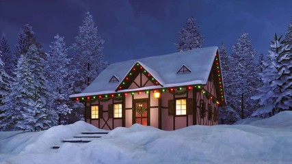 Wall Mural - Dreamlike winter scenery with cozy snowbound half-timbered rural house illuminated by christmas lights among snow covered pine forest at night. Festive 3D animation for Xmas or New Year rendered in 4K