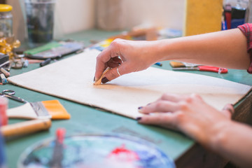 woman at drawing lesson