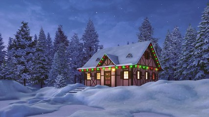 Wall Mural - Peaceful winter landscape with cozy snowbound rustic house decorated by christmas lights among snow covered fir tree forest at snowfall night. Festive 3D animation for Xmas or New Year rendered in 4K