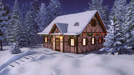 Wall Mural - Snow covered half-timbered rustic house decorated by christmas lights among snowbound fir forest at calm winter night during snowfall. With no people 3D animation for Xmas or New Year rendered in 4K