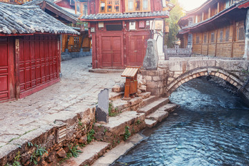 Deurstickers Sunrise view of the empty city street. Lijiang. China.