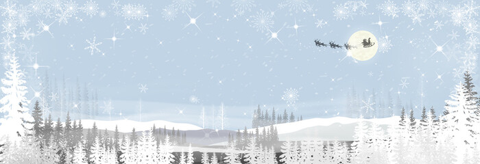 Landscapes winter wonderland of the night with Santa sleigh and reindeers flying over full moon,misty covered wavy mountains,foggy valleys on blue background, Misty landscape with fir forest