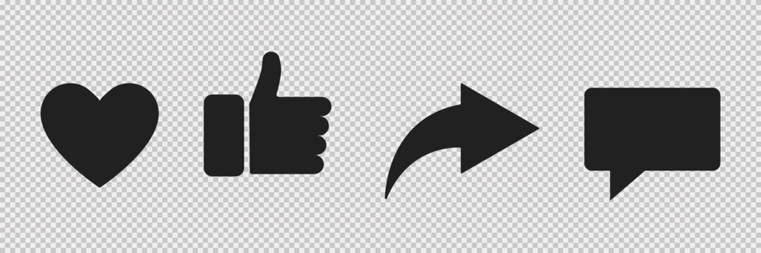 Set of social media icon. Web communication icons isolated. Mail thumb up heart website account internet icon. EPS 10