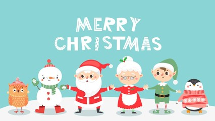 Greeting card with Christmas cute personages. Santa clause and Mrs. Clause and their friends. Snowman, elf, ow and penguin. Happy holiday. Vector illustration