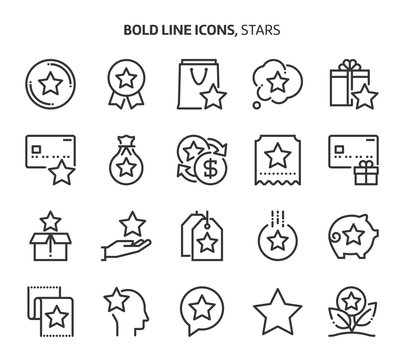 Bonus related bold line icon set. The set is about exchange, currency, feedback, award, customer, gift, bonus, coupon, vector, editable stroke, line, outline.