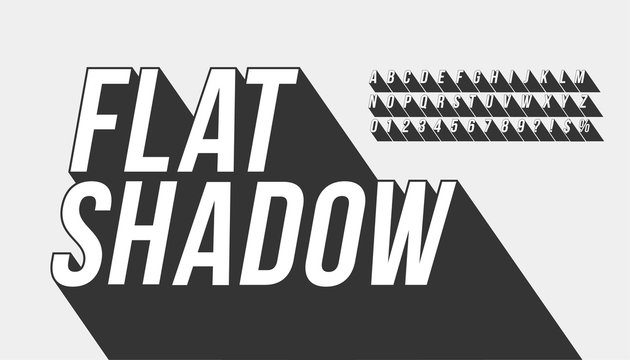Vector of long shadow font and alphabet