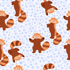 Winter red pandas seamless pattern. Vector graphics.