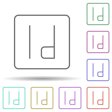 Editorial, indesign multi color icon. Simple thin line, outline vector of editorial design icons for ui and ux, website or mobile application
