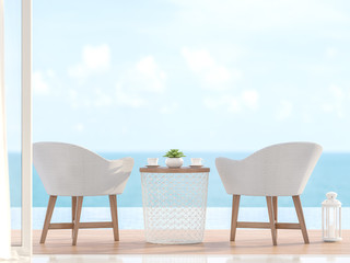 Closeup image of 2 white chairs with wooden legs Located on the pool terrace With a blurred sea background image - 3d render