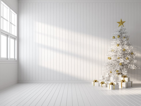 Empty white room decorate with white christmas tree 3d render,there are white wood plank wall and floor ,sunlight shining into the room.