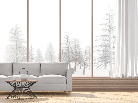 Winter living room 3d render,There are wooden floors decorated with fabric sofa.There are large windows look out to see snow view.