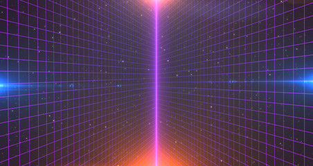 Retro Sci-Fi Background Futuristic Grid landscape of the 80`s. Digital Cyber Surface. Suitable for design in the style of the 1980`s. 3D illustration