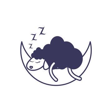 sleeping sheep moon line image