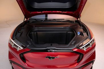 Front trunk of Ford Motor Co's all-new electric Mustang Mach-E vehicle is seen during a photo shoot at a studio in Warren, Michigan