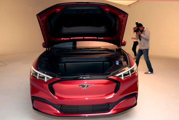 The front trunk of Ford Motor Co's all-new electric Mustang Mach-E vehicle is seen during a photo shoot at a studio in Warren, Michigan