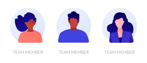 User personal profile faceless characters set. Dark skin employees, multicultural corporate workers portraits. Team member, avatar metaphors. Vector isolated concept metaphor illustrations Fototapete