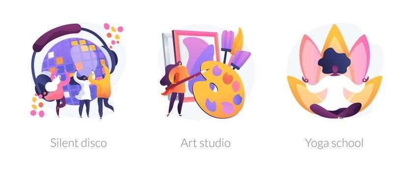 Modern recreation flat icons set. Active leisure, nightclub party, healthy lifestyle. Silent disco, art studio, yoga school metaphors. Vector isolated concept metaphor illustrations.