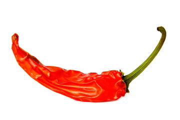 Wall Murals Hot chili peppers Pod of burning red hot chili pepper on white background. Isolated