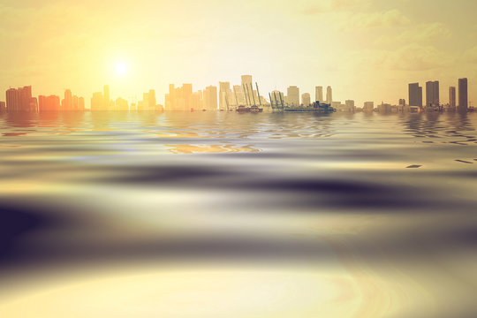 Concept of the flood in Miami due to disastrous consequences of global warming and climate change