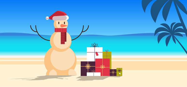 sandy christmas snowman with gift present boxes happy new year vacation holiday celebration concept tropical beach seascape background full length flat horizontal vector illustration