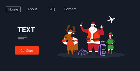 elf santa claus and reindeer with luggage taking selfie photo on smartphone camera 2020 christmas holidays vacation concept horizontal full length vector illustration