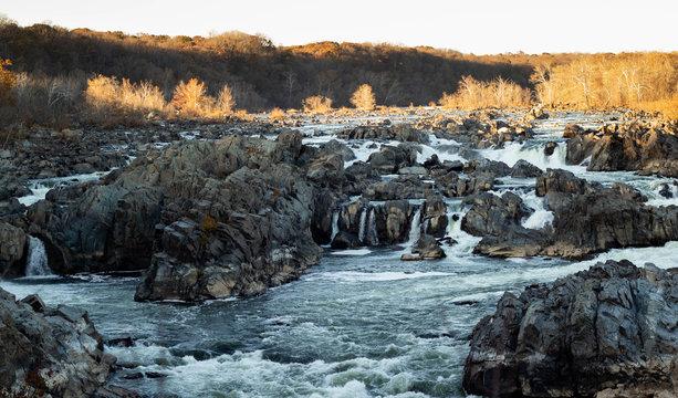 Water falls in fall at Great Falls Park in McLean, Virginia