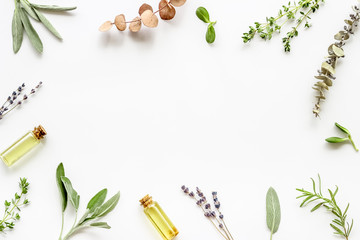 Apothecary of natural wellness and self-care. Herbs and medicine on white background top view frame...