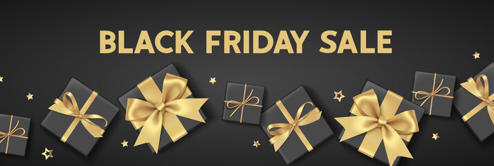 Wall Mural - Black friday sale design template. Text with decorative gift boxes and golden bows.   Vector illustration.