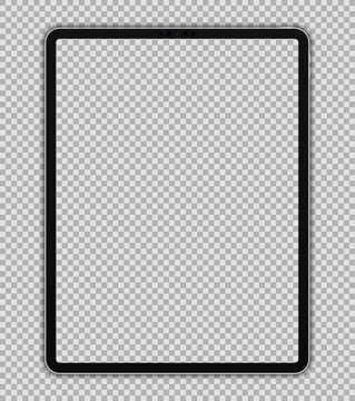 Realistic 12.9 inch Scalable Drawing Pad Isolated. White / Silver Tablet. Front Display View. High Detailed Device Mockup. Separate Groups and Layers. Easily Editable Vector.