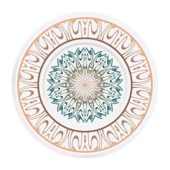 decorative plates for interior design. Empty dish, porcelain plate mock up design. Vector illustration. Decorative plates with Mandala ornament patterns. Home decor background
