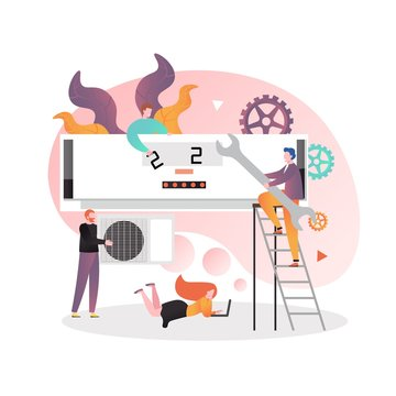 Air conditioning services and maintenance vector concept illustration