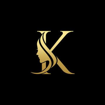 Letter K Beauty Women Face Logo Design Vector