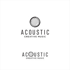 Acoustic Guitar Logo . Guitar logo on white background . Music Logo