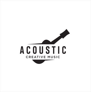 Acoustic Guitar Logo Retro Hipster . Guitar logo on white background . Music Logo Design Template